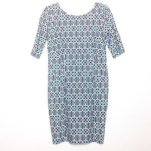 Jude Connally Navy Blue & White Printed Dress S